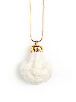 "TADAM! - Concept jewellery kitchen Handmade ceramic pendants TADAM! ""The Sweet Course for Your Eyes"" #jewelry #pendant #doughnut #dessert #califlower #accessory #fashion #handmade   Find it at http://www.mokosh.dk/our-talents/tadam/"