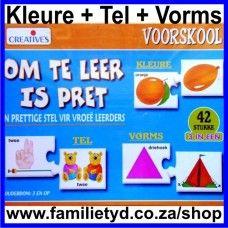 Om te leer is pret ~ goeie keuse vir vroëe leerders! Ouderdom 3+.  21 pare 2-stuk legkaarte oor: Tel 1 tot 10 (10 legkaarte) Vorms (5 legkaarte) Kleure (6 legkaarte) 'n Prettige bekendstelling aan Kleure, Vorms en basiese Syferkonsepte. Maklik herkenbaar, kleurvolle legkaartstukke. Legkaartstukke is selfkorrigerend.