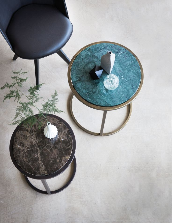 Siena #side_table D50 x H50cm.  Finished in Florentine Gold with Verde Jade #marble.  Siena side table D40 x H50cm. Finished in #Antique_Bronze with #Maron marble.  Echo chair with black #leather and black patinated steel.