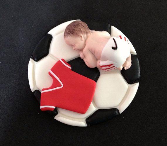 Fondant baby soccer sport cake topper baby por evynisscaketopper