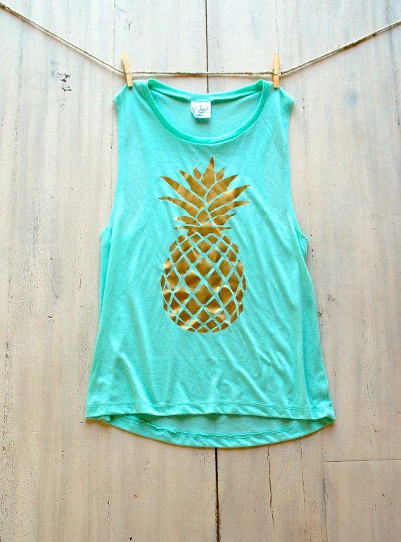 Women's Muscle Tee Tank Mint Pineapple Pinterest Tumblr Fashion Coachella  Festival Boho Women's Tank Top T-Shirt