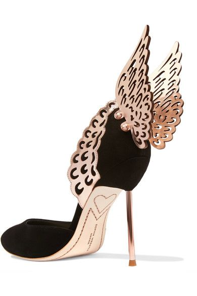 Heel measures approximately 100mm/ 4 inches Black suede, rose gold patent-leather Buckle-fastening ankle strap