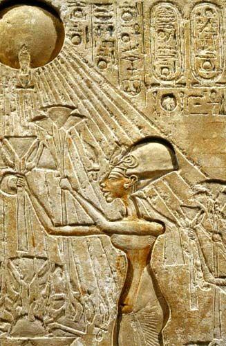 Dios de los dioses del antiguo Egipto, el gran dios de Heliópolis. Akhenaton (décimo rey de la XVIII dinastía egipcia, entre 1372 y 1354 A.C.