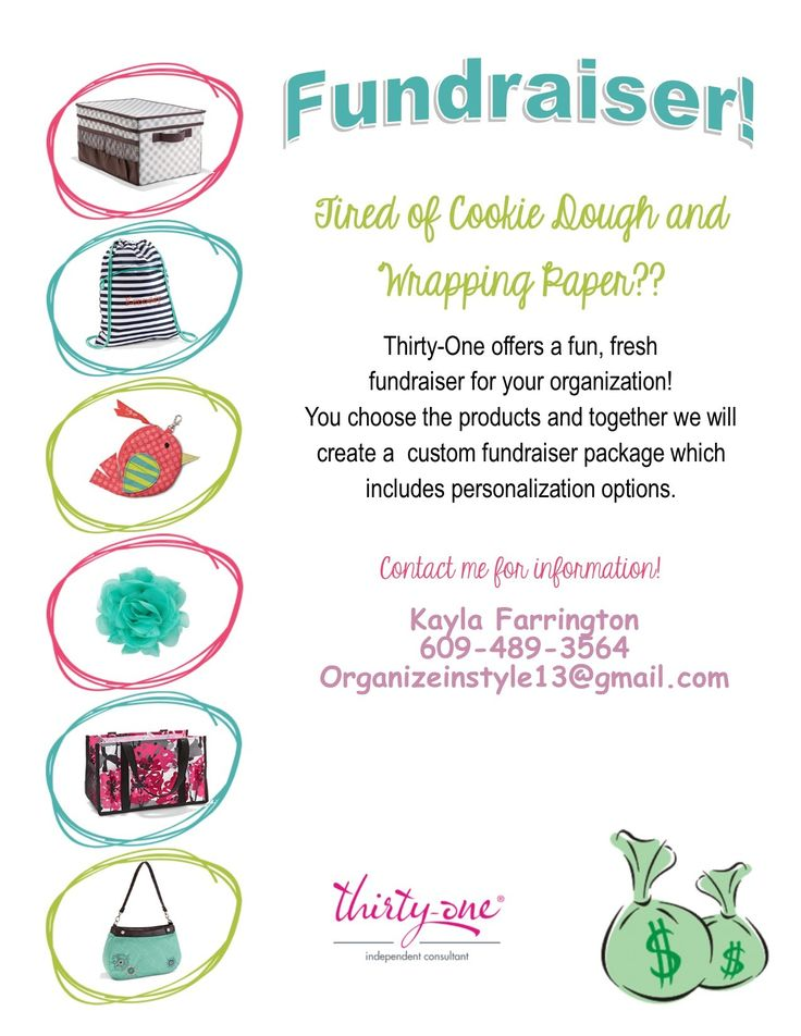 FUNdraiser custom to your needs! A Thirty-One fundraiser works great for preschools sports and also day cares. We can customize by selecting a few products to the whole catalog! Contact me today for more information or with any questions you may have! www.mythirtyone.com/Kfarrington