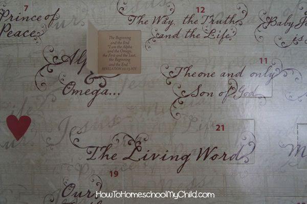 advent calendar-names of jesus from HowToHomeschoolMyChild.com