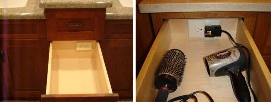 How many of you constantly plug and unplug your hair dryer, storing it haphazardly away near the sink, an eyesore of convenience? Maybe what you need to do is create a hair dryer storage and plug-in drawer...