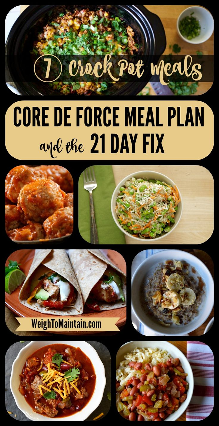 7 delicious and healthy crock pot recipes for Beachbody's new Core de Force workout program.  These yummy slow cooker recipes also work for the 21 Day Fix and other Beachbody programs.