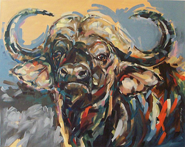 Wild Life Painting of a Bufferlo, Oil on Canvas. By Sean Simons. Artisan Gallery, 031 312 4364. info@artisan.co.za