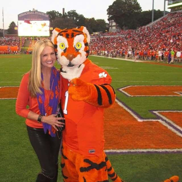 Nancy O'Dell (Entertainment Tonight host) along with a Clemson mascot. She's a Clemson alumni!
