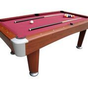 "A luxury 7ft pool table boasting bucket pockets, independent leg levellers and bolt on legs, with full sized 2.5"" pool balls, 2 cues and a triangle for immediate play. Very sturdy."