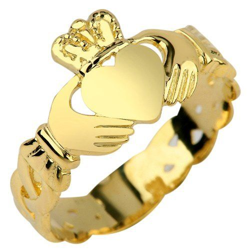 Ladies 10k Yellow Gold Claddagh Ring with Trinity Band (7) Claddagh Rings