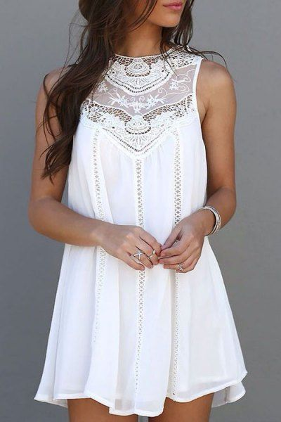 Spliced Openwork White Chiffon Dress WHITE: Chiffon Dresses | ZAFUL