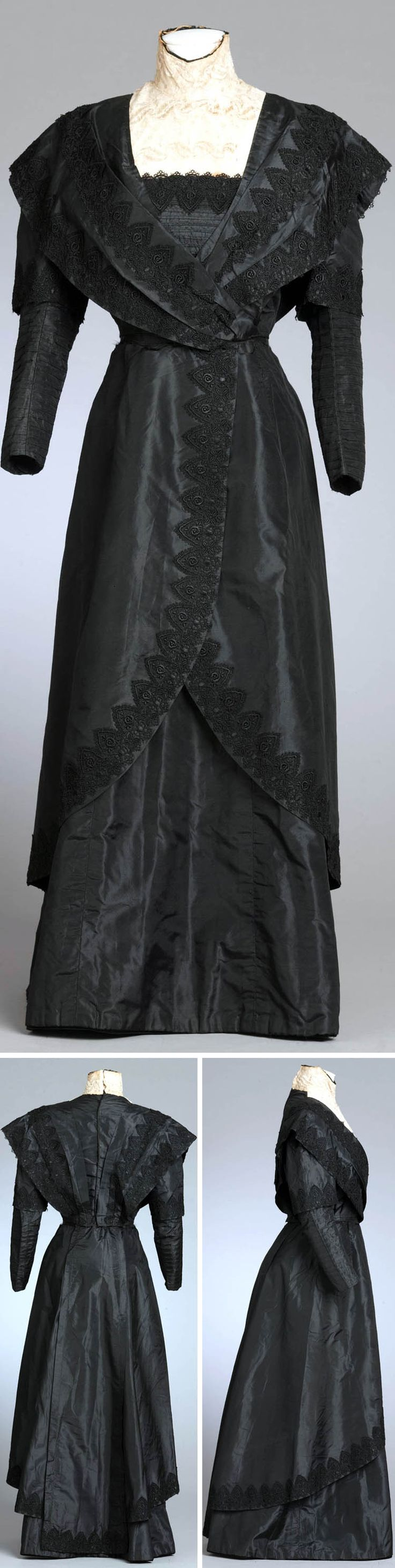 "Although this dress looks quintessentially Edwardian, the New Zealand Fashion Museum dates it to 1892. Black silk, black & cream lace, cotton lining, boning. ""This late-Victorian dress demonstrates the levels of luxury attainable by a small-town storekeeper's wife at the end of the 19th century,"" the museum says."