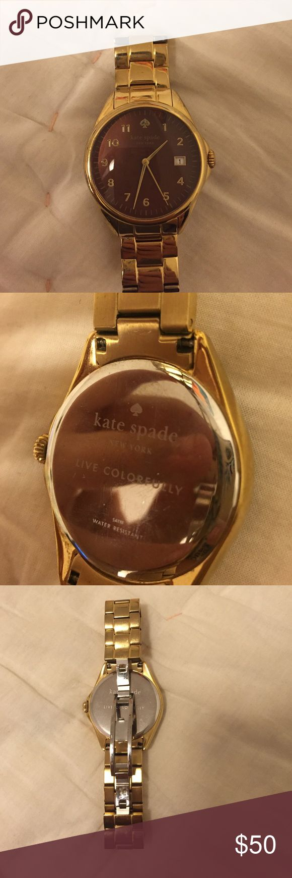 Kate Spade gold watch Kate Spade gold watch, chocolate brown face, from 2014, few scratches, needs to battery kate spade Accessories Watches