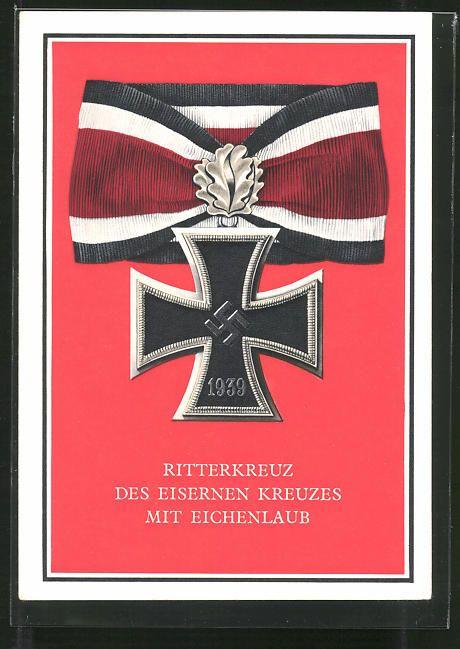 old postcard: AK Kriegsorden d. Großdeutschen Reiches, Ritterkreuz des Eisernen Kreuzes mit Eichenlaub