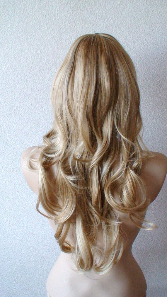 Blonde And Brown Highlights Wig Long Wavy Hair Wig By