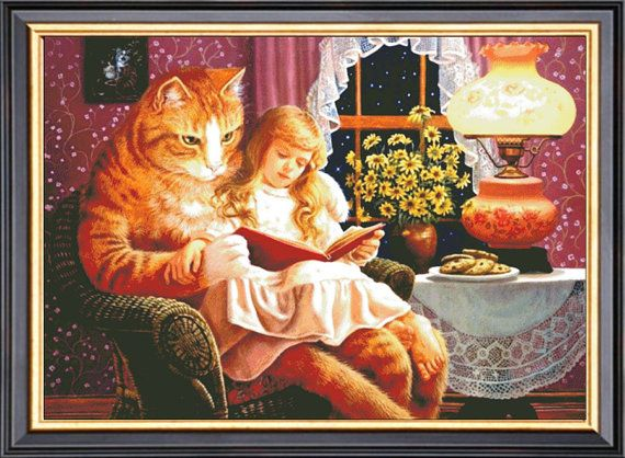 High Quality Girl And Cat Counted Cross Stitch by Ankicoleman, $8.99