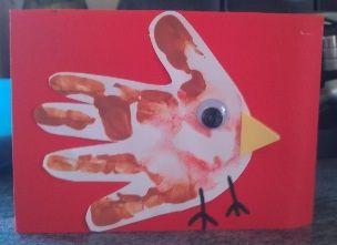 Emmys Mummy - Handprint Robin Christmas Card