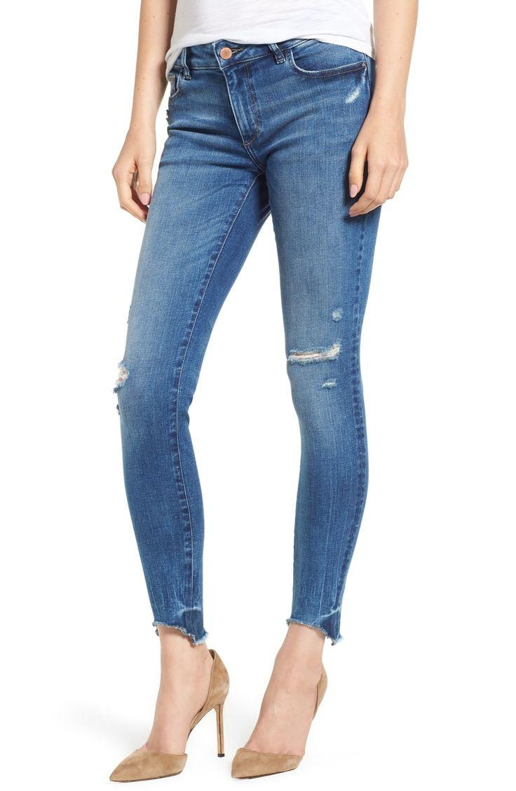 DL1961 Emma Raw Hem Low Rise Skinny Jeans (Baxter Low