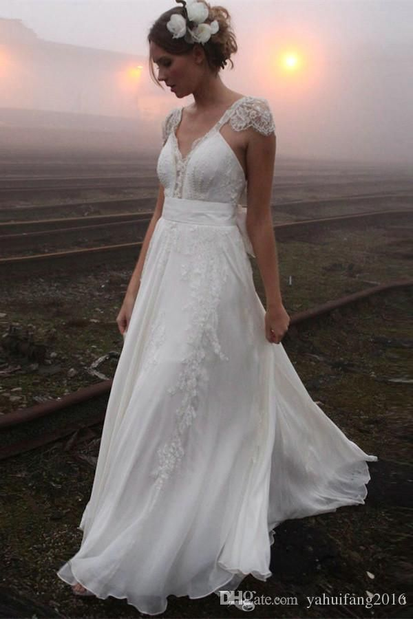 2017 Modest Cap Sleeve Wedding Dresses Ivory Chiffon Appliqued Lace A-line Backless Bridal Gowns Country Beach Style Vestido De Noiva Praia A-Line Wedding Dresses Vestido De Noiva V Neck Sleeveless Dress Online with $179.42/Piece on Yahuifang2016's Store | DHgate.com