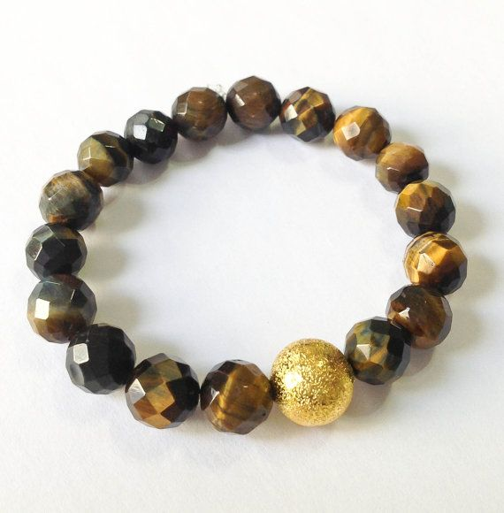 Tiger eye stretch bracelet faceted tiger eye beaded by jochec