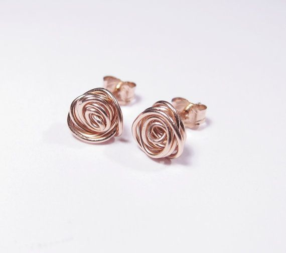 Wire Rose Flower Earrings Wire Rose Flower Jewelry Rose Flower Etsy In 2020 Nature Inspired Jewelry Flower Jewellery Cute Jewelry