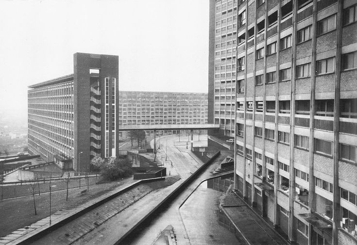 sheffield: park hill part two (hyde park) development, 1962-6. a sheer, citadel-like group crowning the city's skyline; includes one 19-storey block which contains no fewer than 678 dwellings. englands only multi-storey development approaching the degree of monumentality of scottish schemes such as red road, sighthill & ardler: however, it's blocks are grouped in a picturesque, rather than formal manner. image & words: tower block by miles glendinning & stefan muthesius
