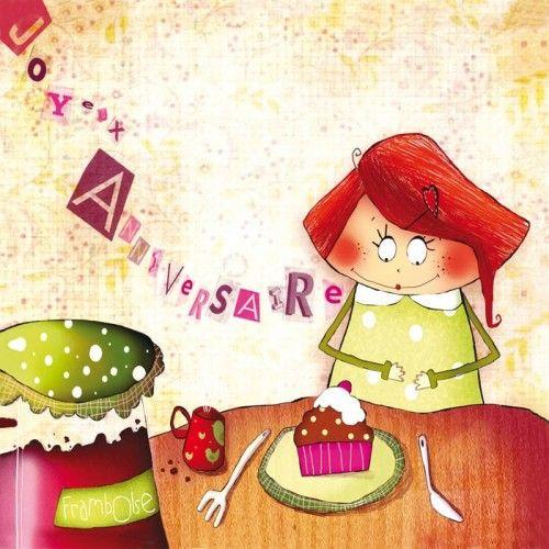 """Morgane Devillers carte postale carrée (14cm) """"Joyeux anniversaire framboise"""""""