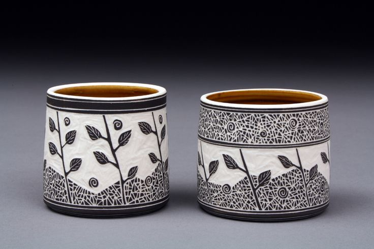 Nice sgraffito pots by Becky and Steve Lloyd