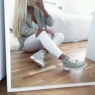 shoes jacket platinum hair outfit blonde hair back to school beige urban fall outfits boots baddies grey white jeans white jeans grey sweater timberlands timberland gray and white cute fashion style beautiful girl girly demin phone t-shirt hair classic swag swagg t shirt shoes winter