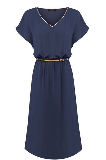 Let us reinvent the reliable midi dress for you in a soft, drapey fabric with capped sleeves and a subtle metallic trim at the neckline so that you can have a hardworking wardrobe essential that is as reliable as it is just right.