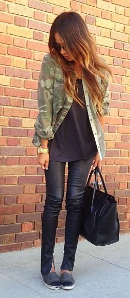 Camo jacket - love. but not leather pants, and gray combat boots <3