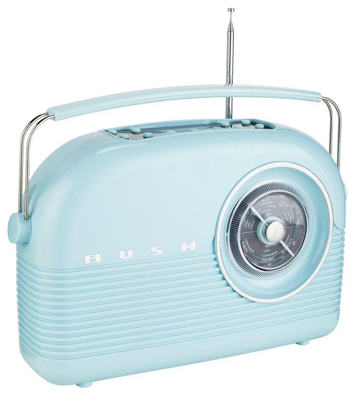 Bush - Classic Retro DAB Radio - Cornflower Blue: With a Retro design this Bush DAB Radio in cornflower blue adds vintage character to your…