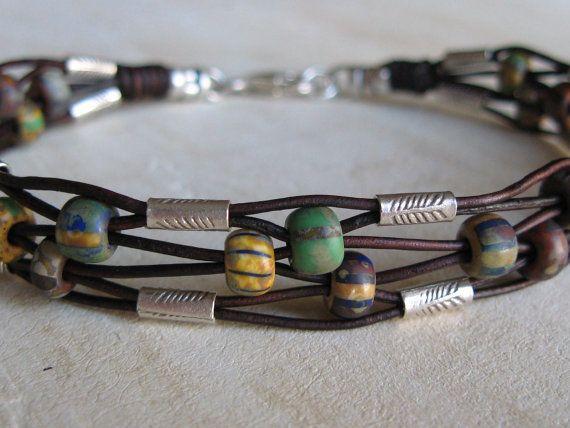 Rustic Woven Leather Bracelet. Neat Etsy board!