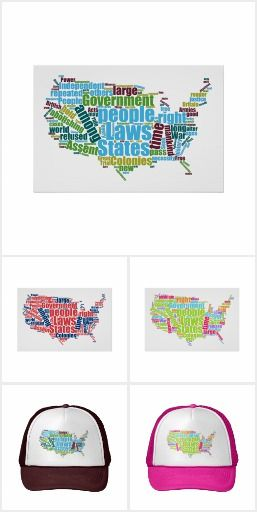 """New """"Patriotic Word Clouds"""" collection from Janusian Gallery and Waving the Flag. Each features a word cloud image of the Declaration of Independence, in the shape of a map of the United States."""