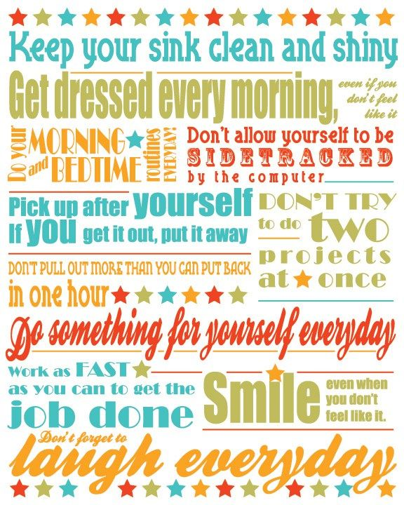 PRINTABLE FlyLady 11 Commandments to a Happier Home, Wife and Mom (part 2) – A Mom's Journey