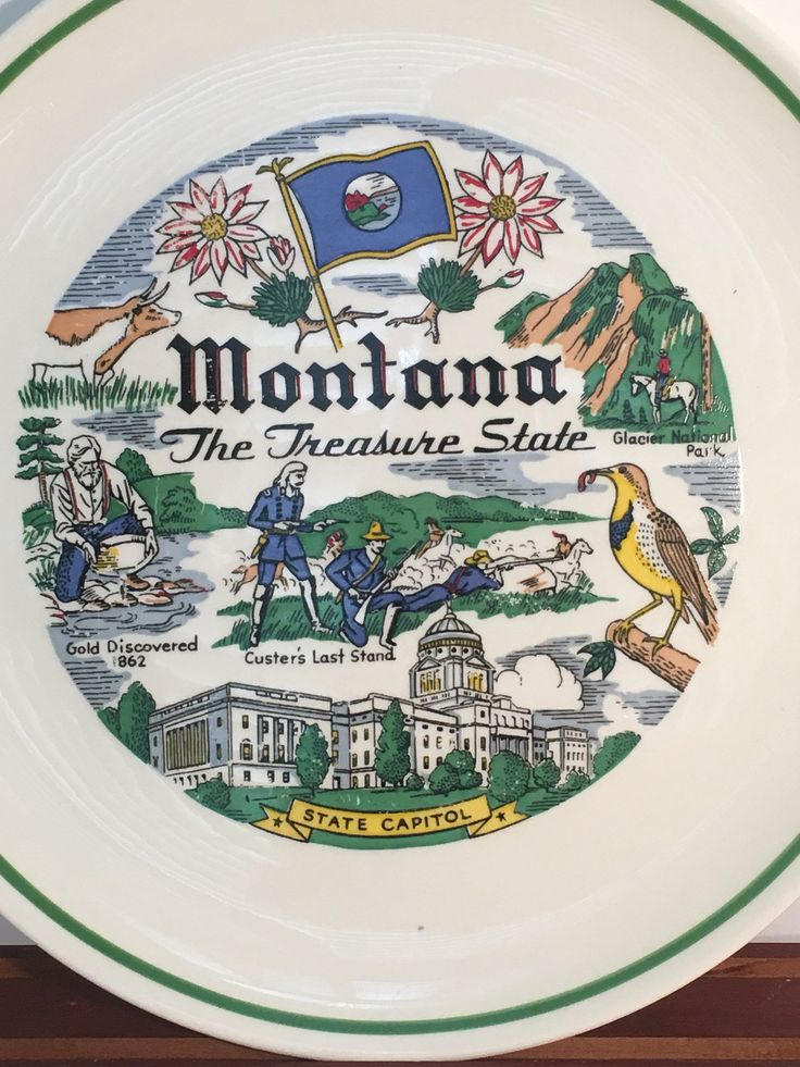 "Montana State Collectible Souvenir Display Plate Taylor Smith Taylor Oven Proof 9"" Plate by baublesandblingforu on Etsy"