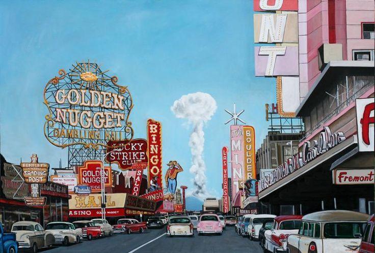 Esplosione nucleare a 160 km da Las Vegas, 1953. Prego però notare com'è grande la pubblicità della Lucky Strike, e riflettere su quale dei due fenomeni i governi sono intervenuti 'for your safety and the safety of others'.