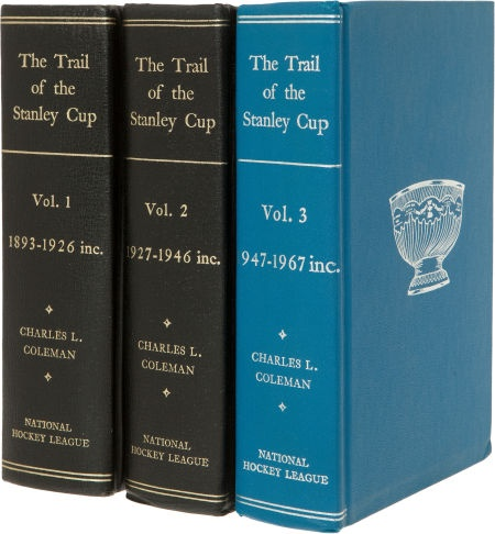 """The entire history of the National Hockey League until 1697, in this three-book set entitled """"The Trail of the Stanley Cup."""""""