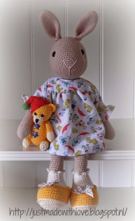 Marijntje, the bunny with her little bear by Just made with love by Antoinette