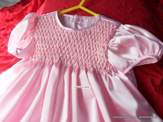honeycomb smocked satin with hand sewn pearls in each honeycomb by cutiepye australia 0427820744