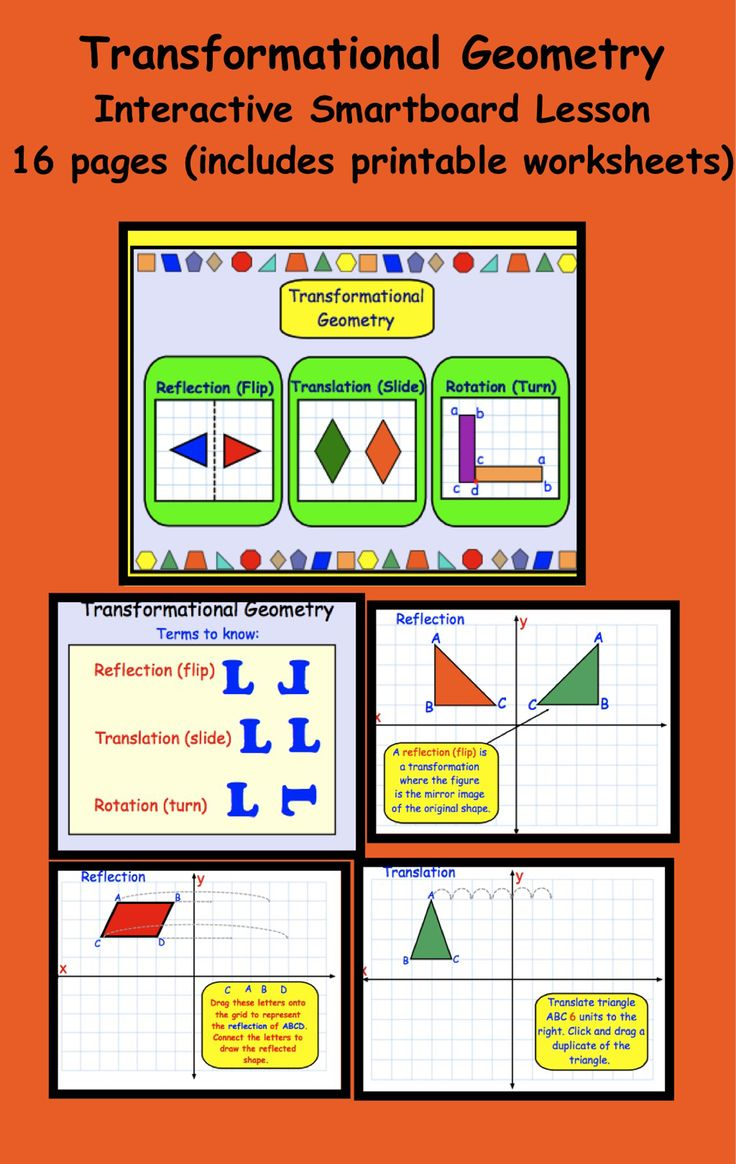 Transformational Geometry Interactive Smartboard Lesson 16 pages, includes printable worksheets
