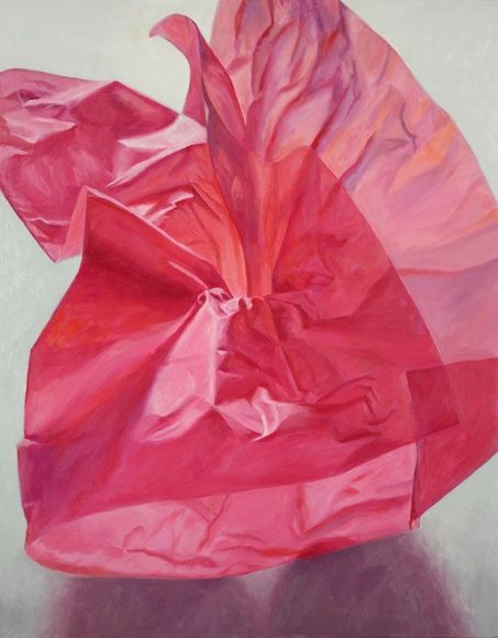 """""""Sometimes I will combine colored tissue paper with other objects for my paintings. One day, seeing the beautiful effect of light through fuchsia colored translucent paper, I decided the paper alone would make a visually rich subject. The painting was challenging but satisfying to complete. The title Cerise, meaning cherry in French, is a color somewhere between fuchsia or magenta and red. There are many colors in the painting, but they add up to Cerise."""" - Douglas Newton"""