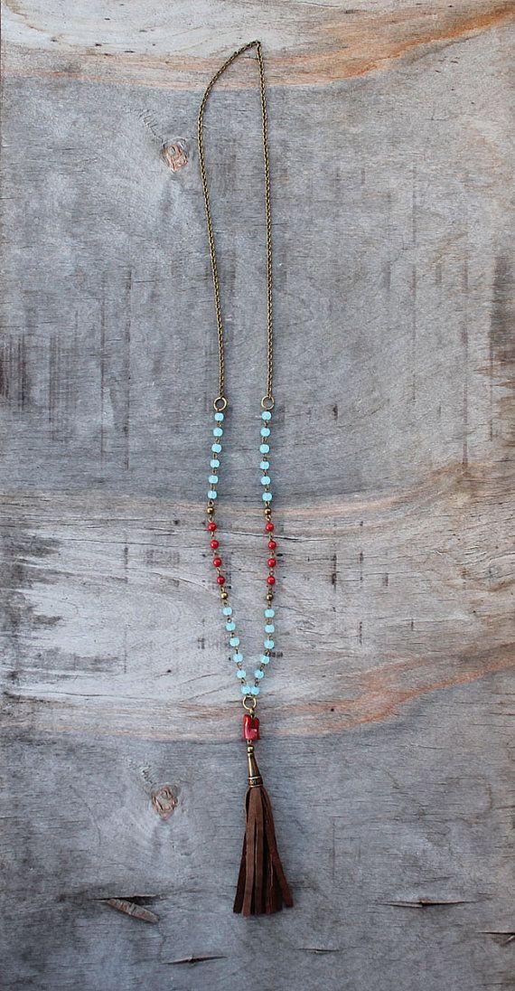 Boho jewelry: long boho necklace leather tassel by NessSolo