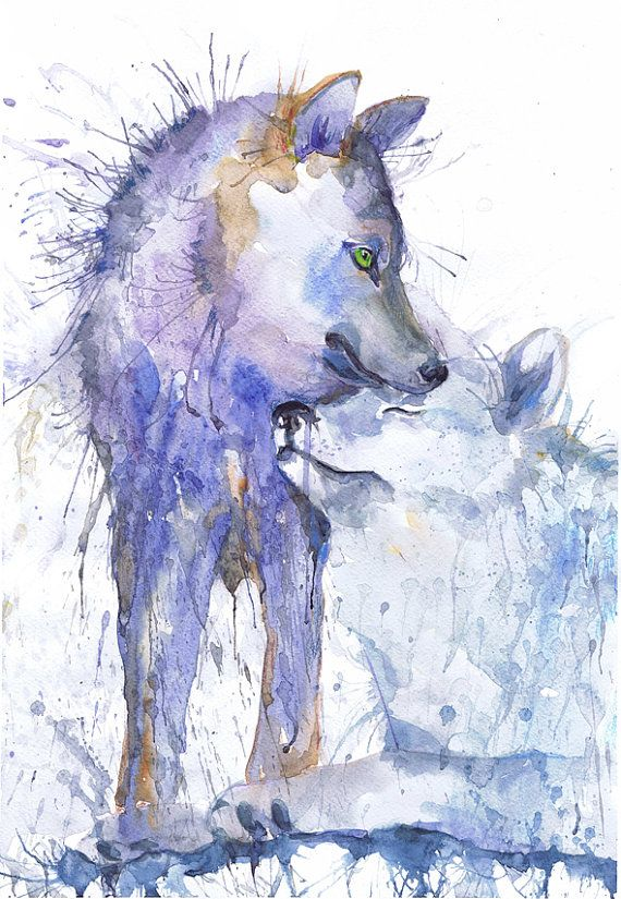 #Wolf #painting #watercolor, two #wolves #art, animals couple, Illustration, poster, animal art, art print, nature painting, wolf wall art by ValRa