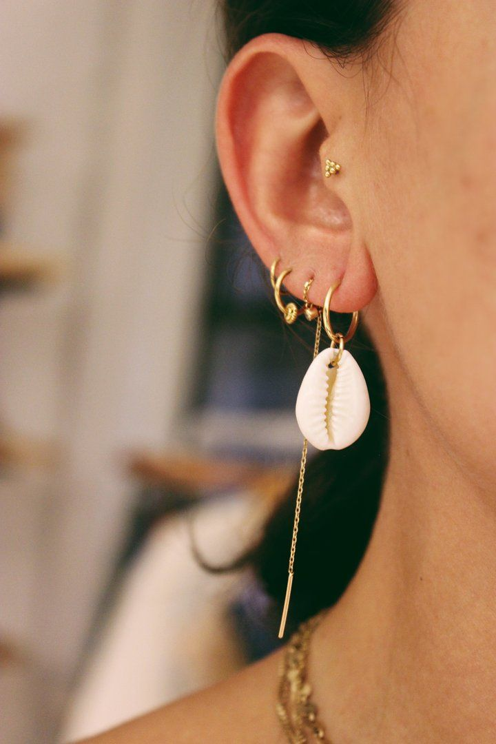 Great 14k Yellow Gold Cowrie Shell Earring