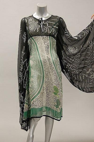 A rare and early Zandra Rhodes printed chiffon kaftan dress, 1968.
