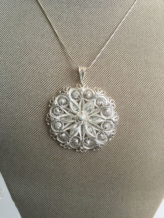 925 Solid Silver Filigree Pendant by GoldCarnation on Etsy
