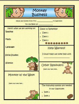 Monkey Theme Classroom | Monkey Theme Newsletter Template - PUBLISHER