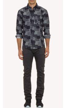 Westbrook XO Barneys New York x Naked & Famous Patchwork-Pattern Raw Denim Shirt